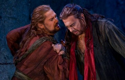 , left) comforts Orest (Placido Domingo) in the Metropolitan Opera